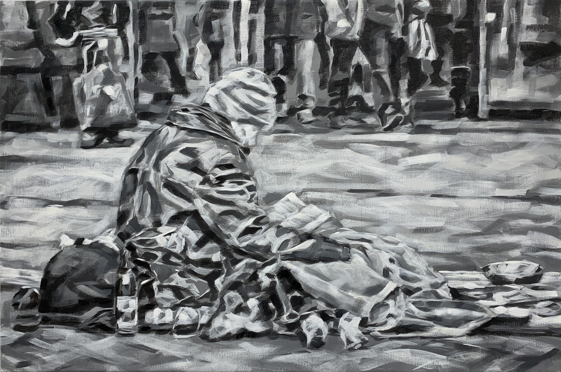 """Sitting in a shopping mall"", Öl auf Leinwand, 60x90 cm, 2020"