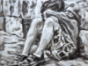 """""""Boy, sitting on a street corner"""", Öl auf Leinwand, 50x55cm, 2020"""