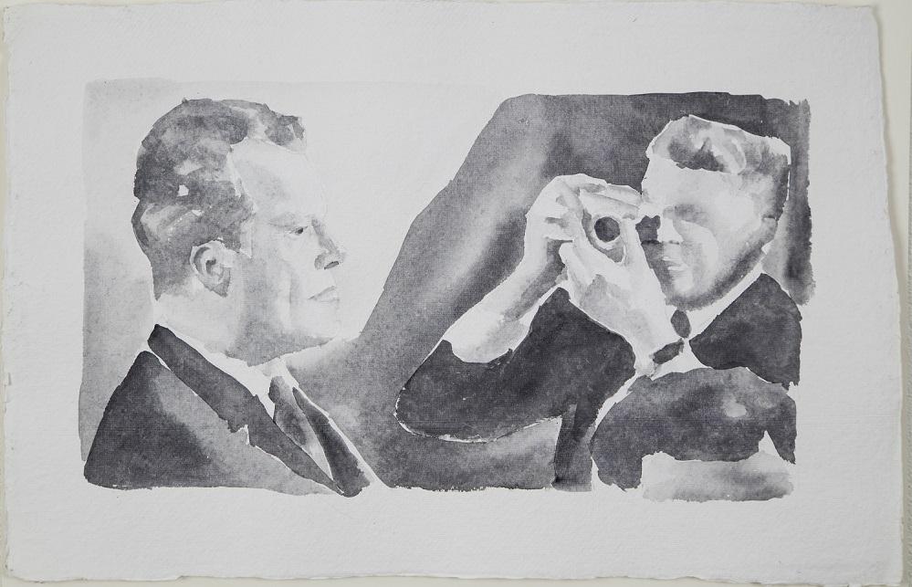 """Fototermin"", Aquarell, 48x68 cm, 2011"
