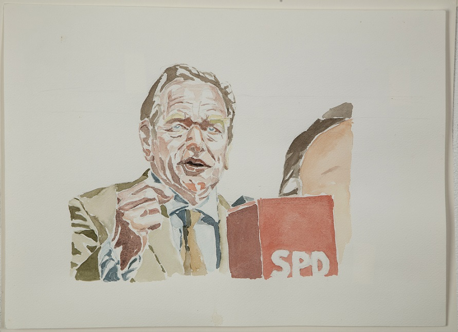 """Gerhard Schröder"", Aquarell, 38x52cm, 2011"