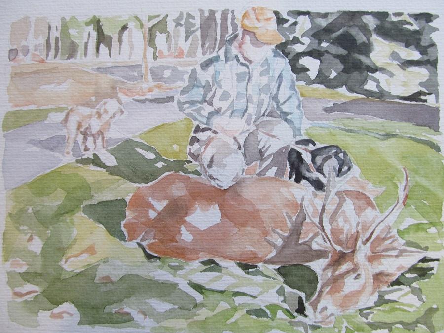 """""""Jäger im Hunsrück"""", Aquarell, 36x48, 2012"""