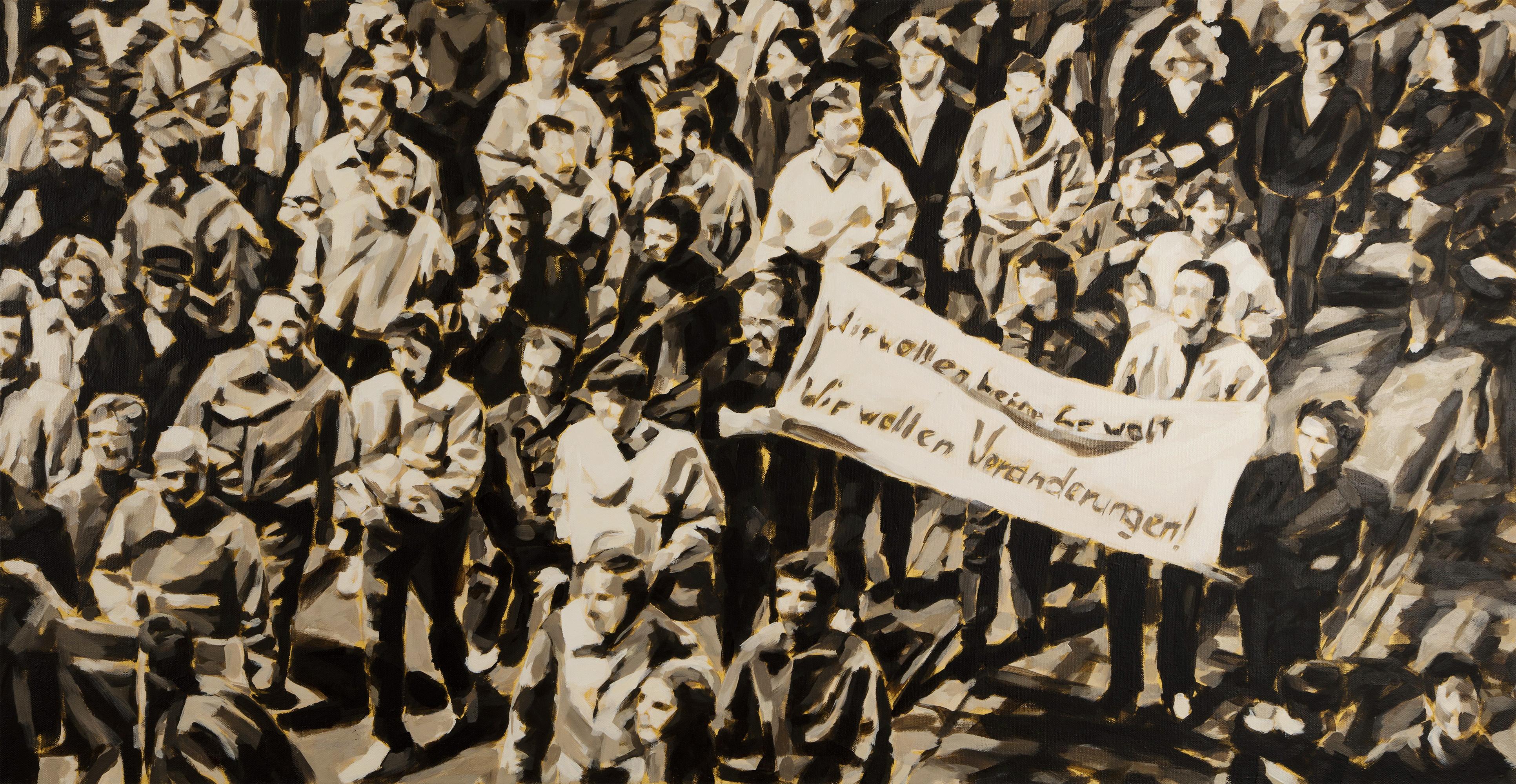 """Montagsdemonstration in Leipzig, 1989"", 75 x 150 cm, Öl auf Leinwand, 2015"