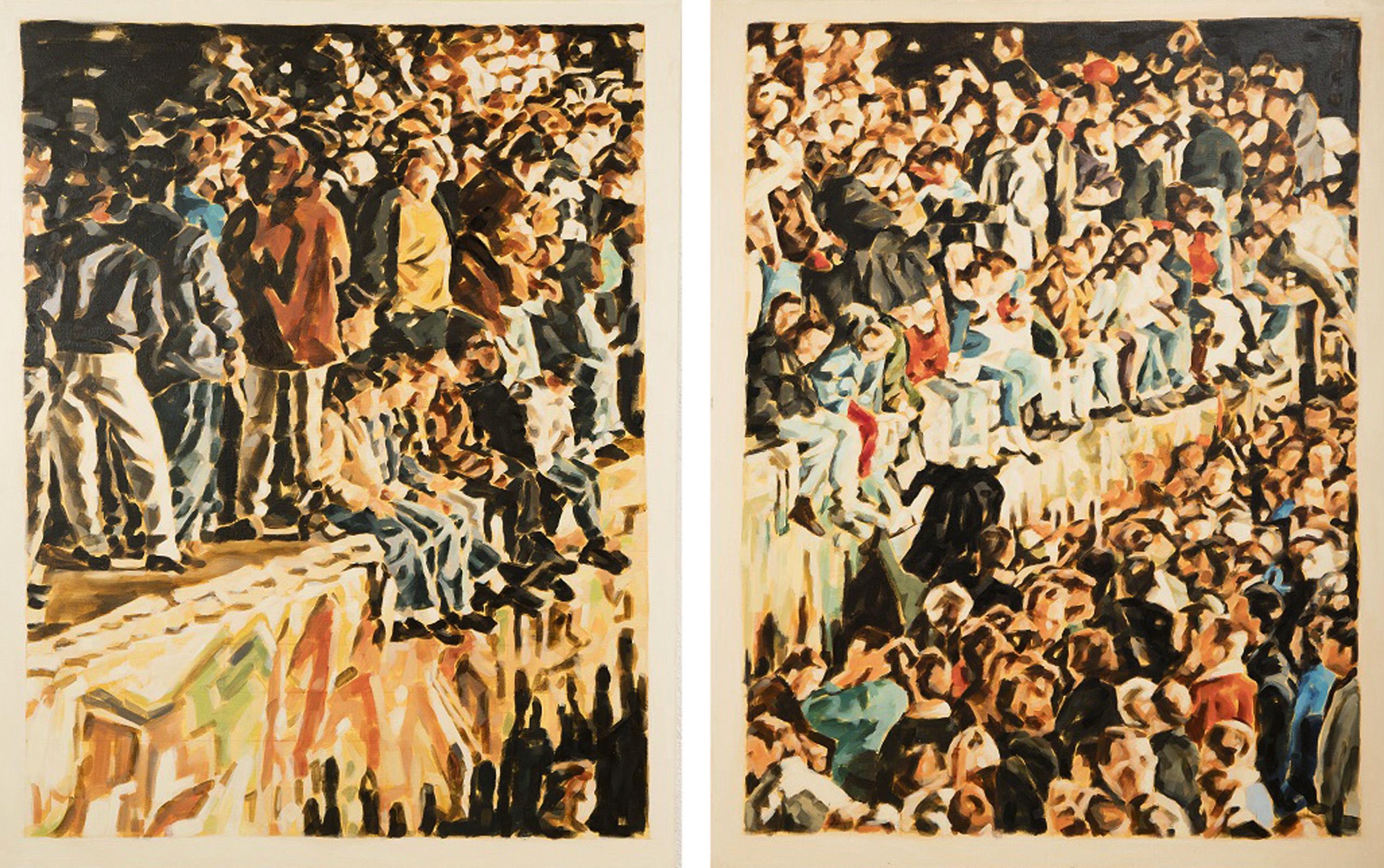 """9. November 1989"",  Diptychon, 2x 110 x 85 cm, Öl auf Leinwand, Diptychon, 2015 / 2016"