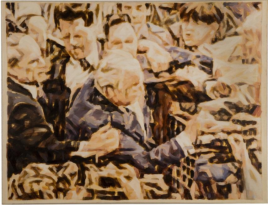 """""""Der Eierwurf von Halle, II"""", Öl auf Leinwand, 110x145, 2016"""