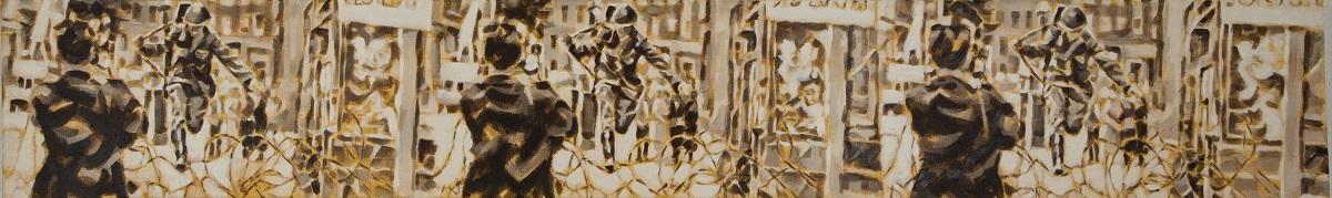 """""""Der Sprung"""", Fries, Öl auf Leinwand, 25x160 cm, 2017"""