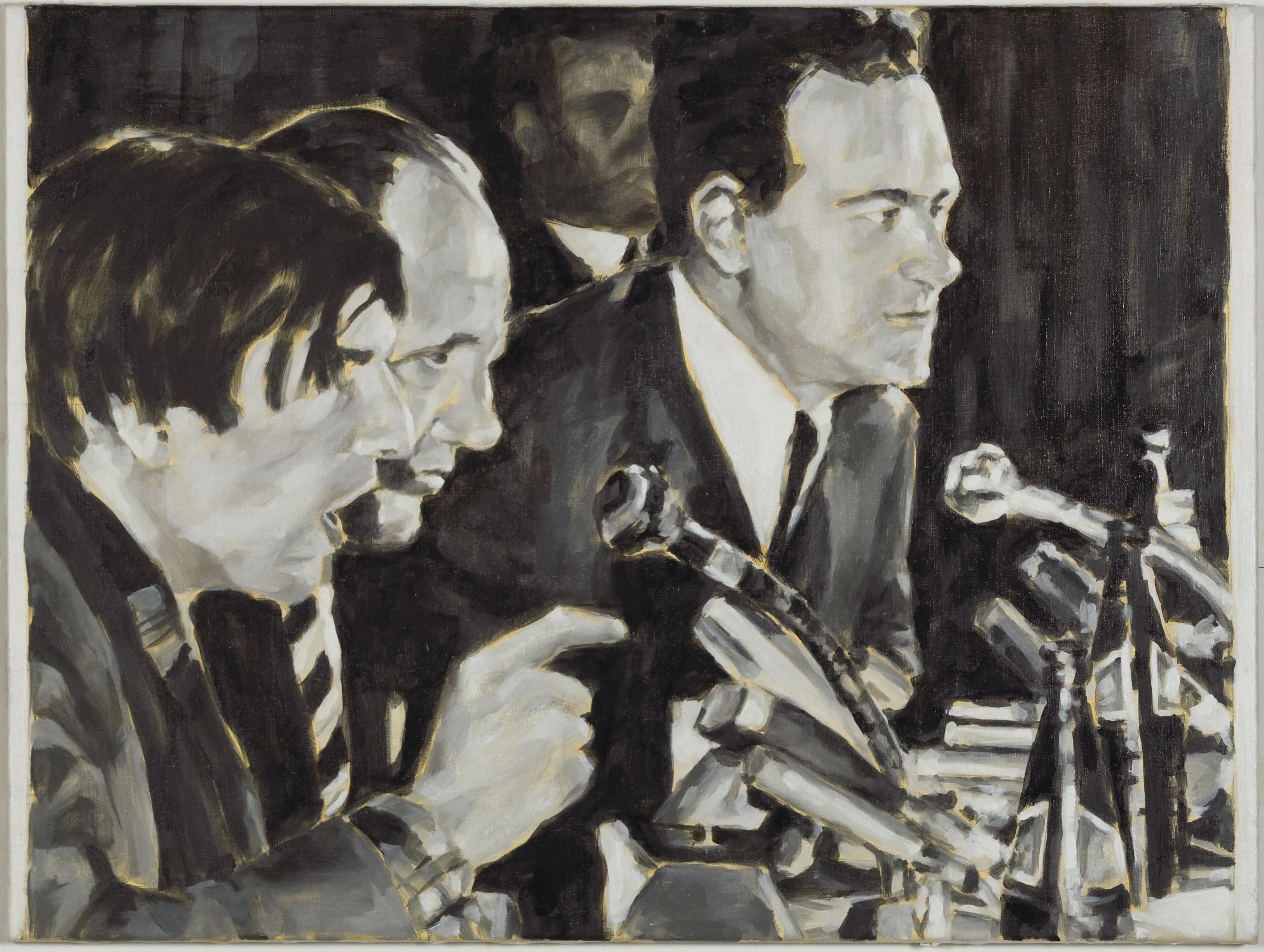 """Diskussion"", Öl auf Leinwand, 70 x 100 cm, 2007"