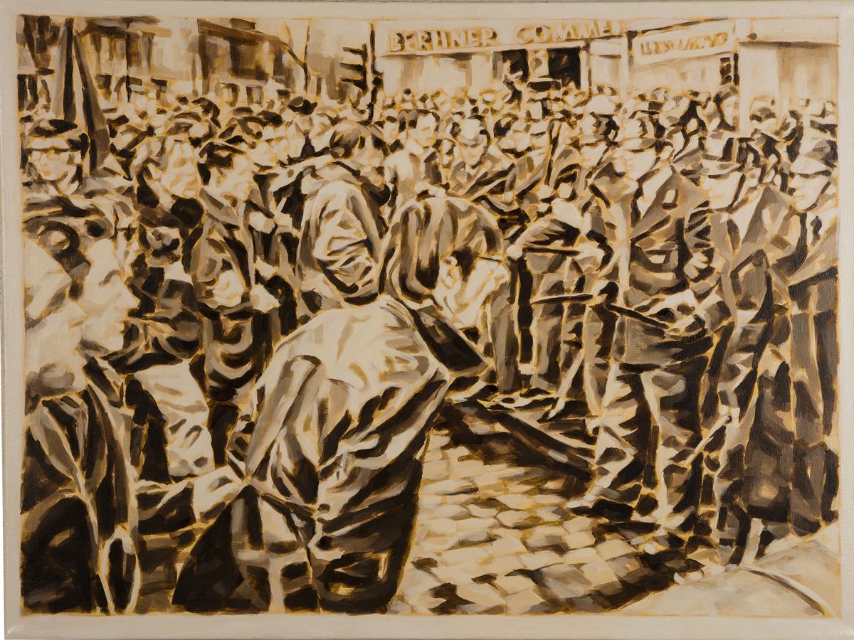 """""""Eskalation in Berlin, 1967"""", Öl auf Leinwand, 70 x 100 cm, 2015"""