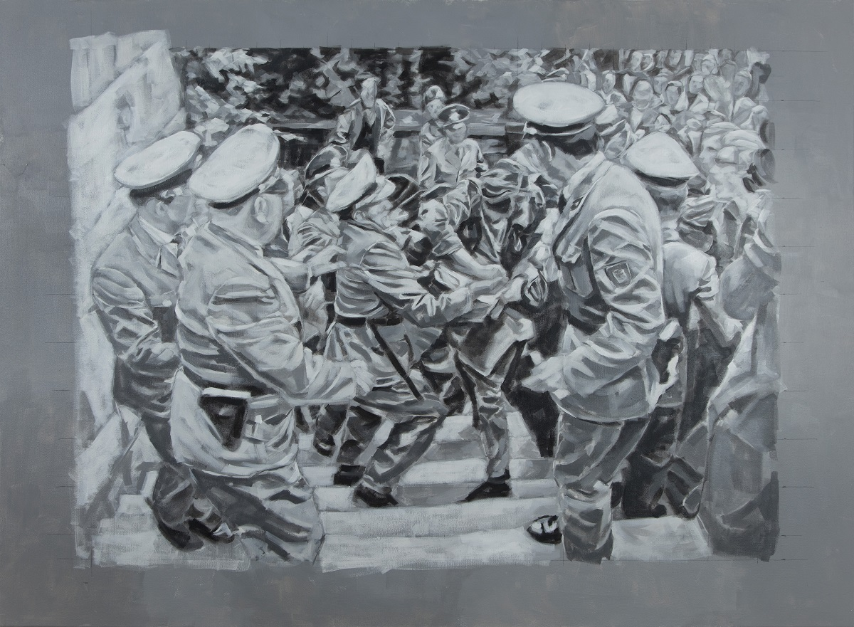 """Demonstration in Berlin"", Öl auf Leinwand, 130x170cm, 2018"