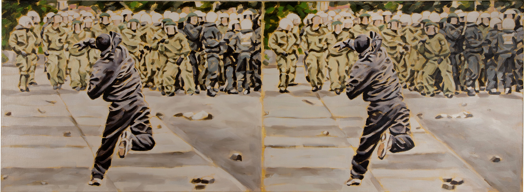 """Eskalation II, Rostock 2007"", Öl auf Leinwand, 60 x 160 cm, 2016"