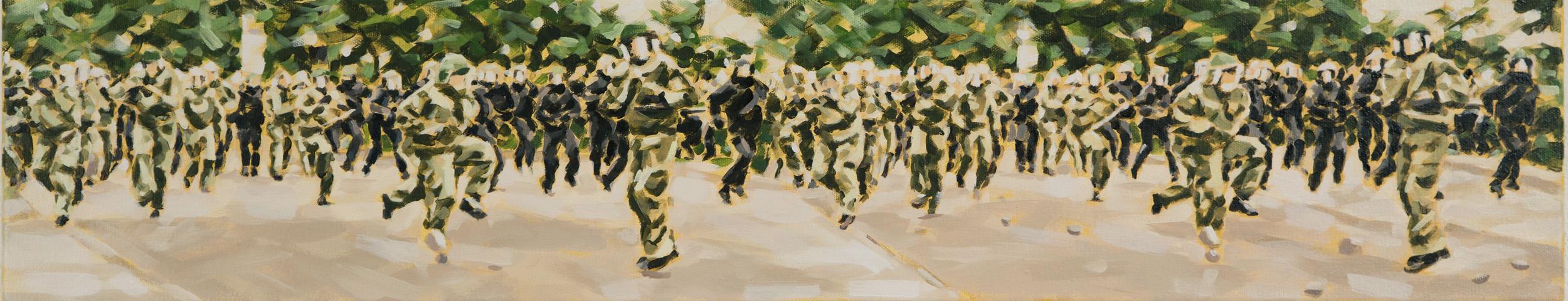 """""""Eskalation V, Rostock 2007"""", Öl auf Leinwand, 20 x 100 cm, 2015"""