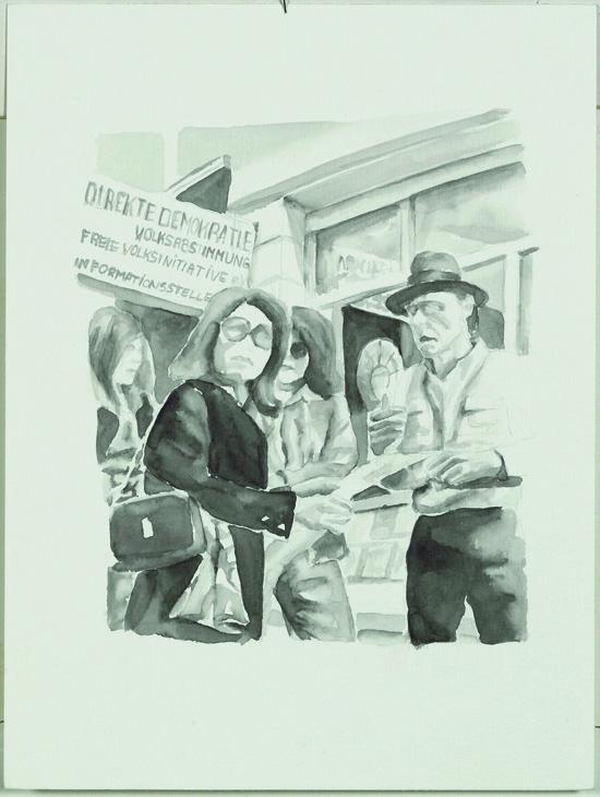"""Joseph Beuys, Direkte Demokratie"",  28 x 23 cm, Aquarell, 2007"