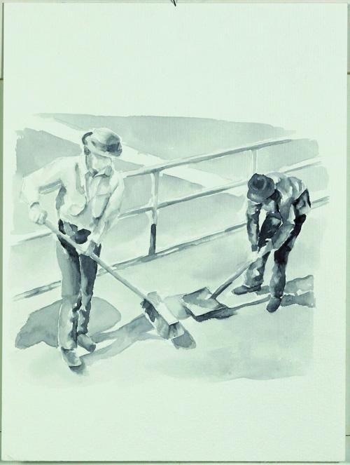 """Joseph Beuys, Ausfegen"", Aquarell, 28 x 23 cm, 2007"
