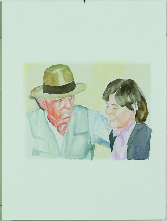 """Joseph Beuys und Petra Kelly"", Aquarell, 20x30cm, 2007"