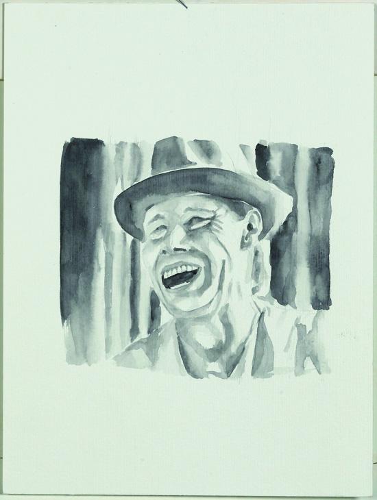"""Joseph Beuys"", Aquarell, 32 x 43 cm, 2008"
