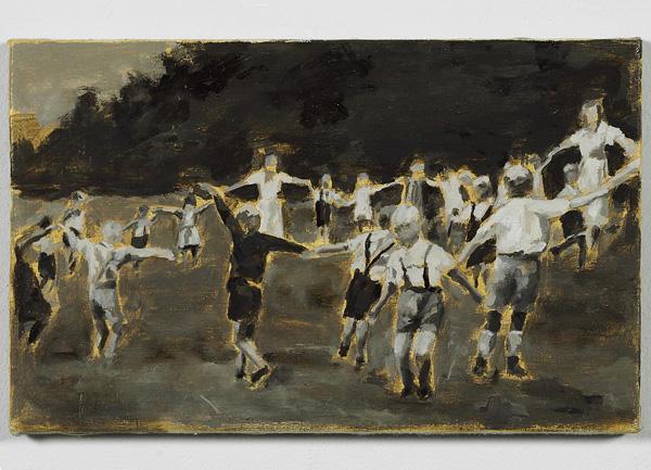"""""""Reigen, 1937"""", aus der Serie """"Klaus"""", Öl auf Leinwand, 30 x 42 cm, 2006"""