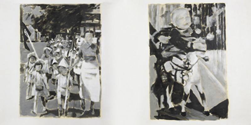 """""""Klaus, verschiedene Posen"""", Zeichnung, 140 x 200 cm, 2008"""
