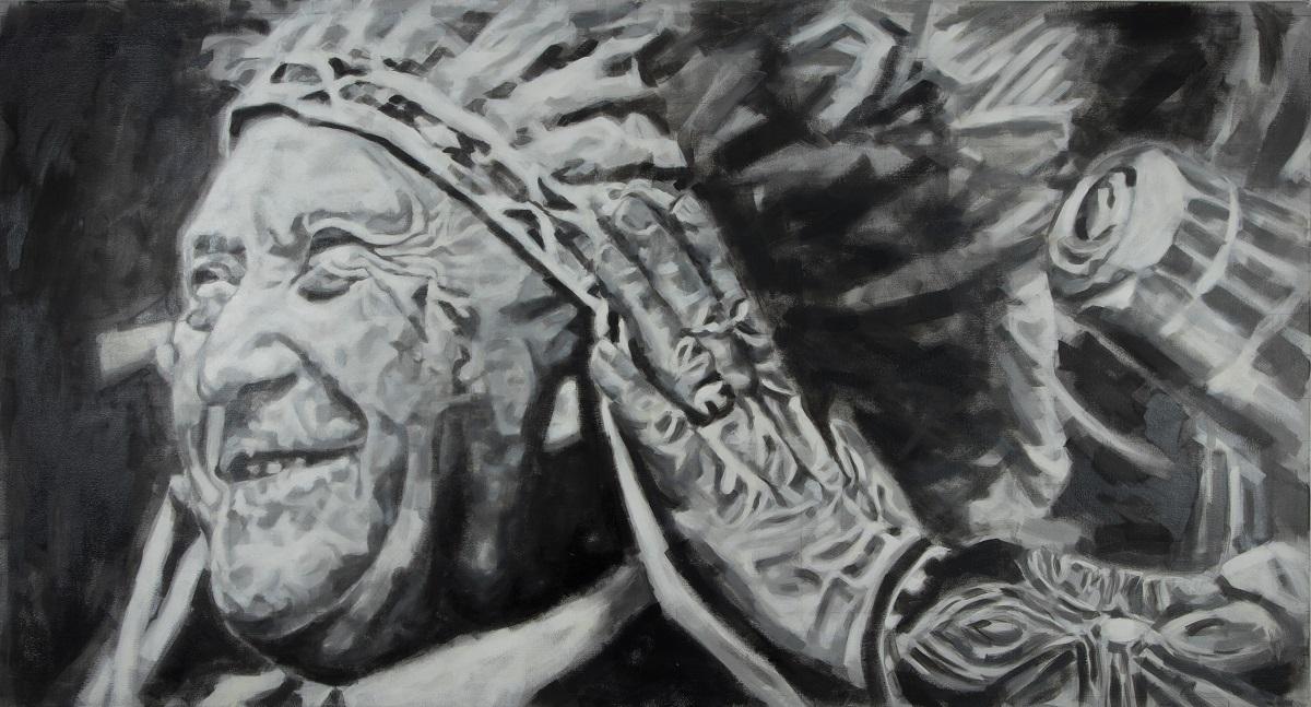 """Konrad Adenaue rmit Kopfschmuck"", Öl auf Leinwand, 100x190 cm, 2018"