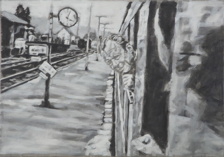 """Dornbirn, Bahnhof"", Öl auf Leinwand, 70x100, 2019"