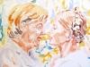 """""""Angela Merkel und Julia Timoschenko, 2008"""", Aquarell, 38x49 cm"""