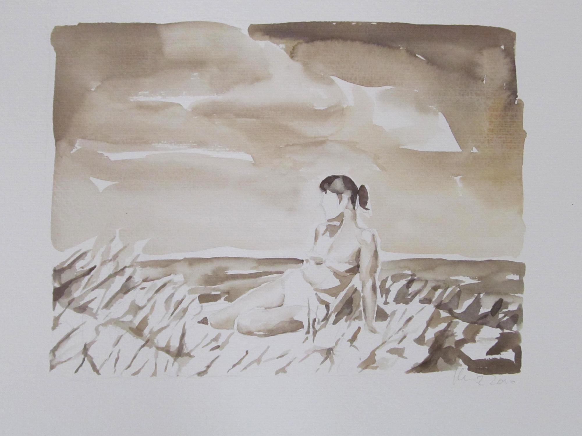 """""""Strandpose, 1950er Jahre"""", Aquarell, 32 x47 cm, 2013"""