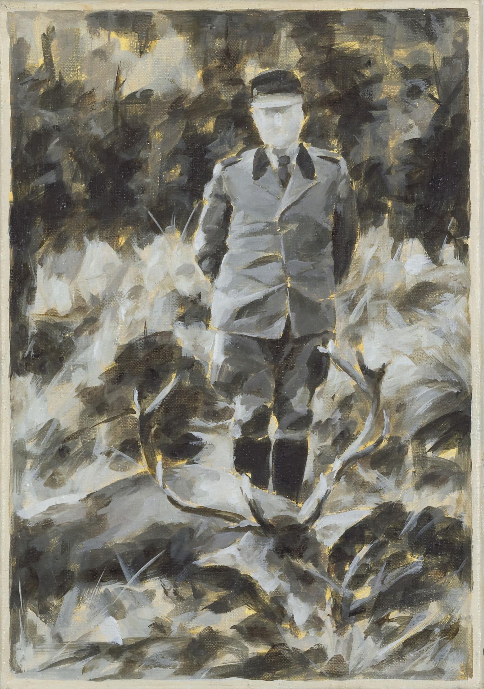 """""""Jäger im Hunsrück"""", Öl auf Leiwnand, 42x30 cm, 2014"""