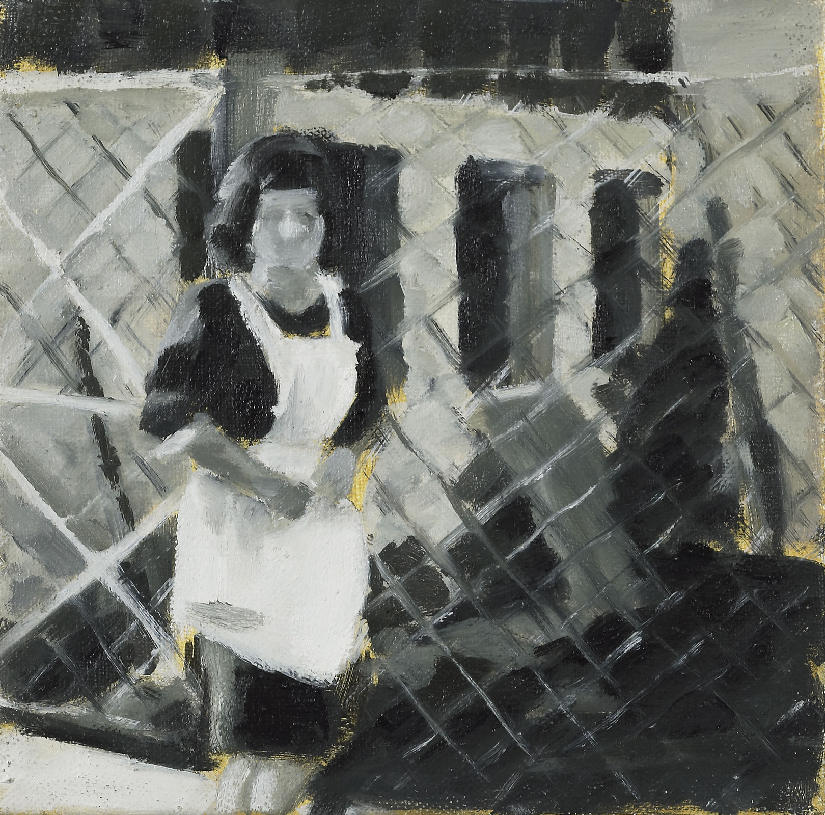 """Erna, 1963"", Öl auf Nessel, 20x20 cm, 2002"