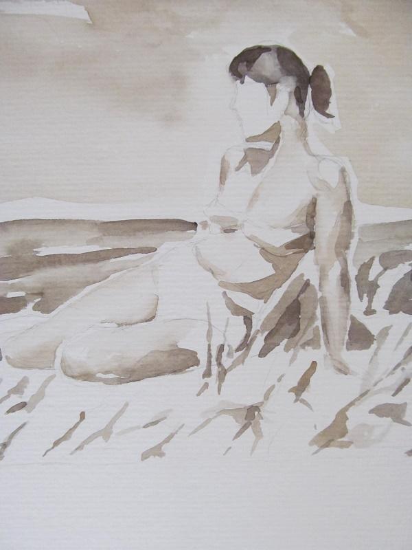 """Am Meer, ca. 1947"" aus der Serie ""Jederzeit Idylle"", Aquarell, 2013"