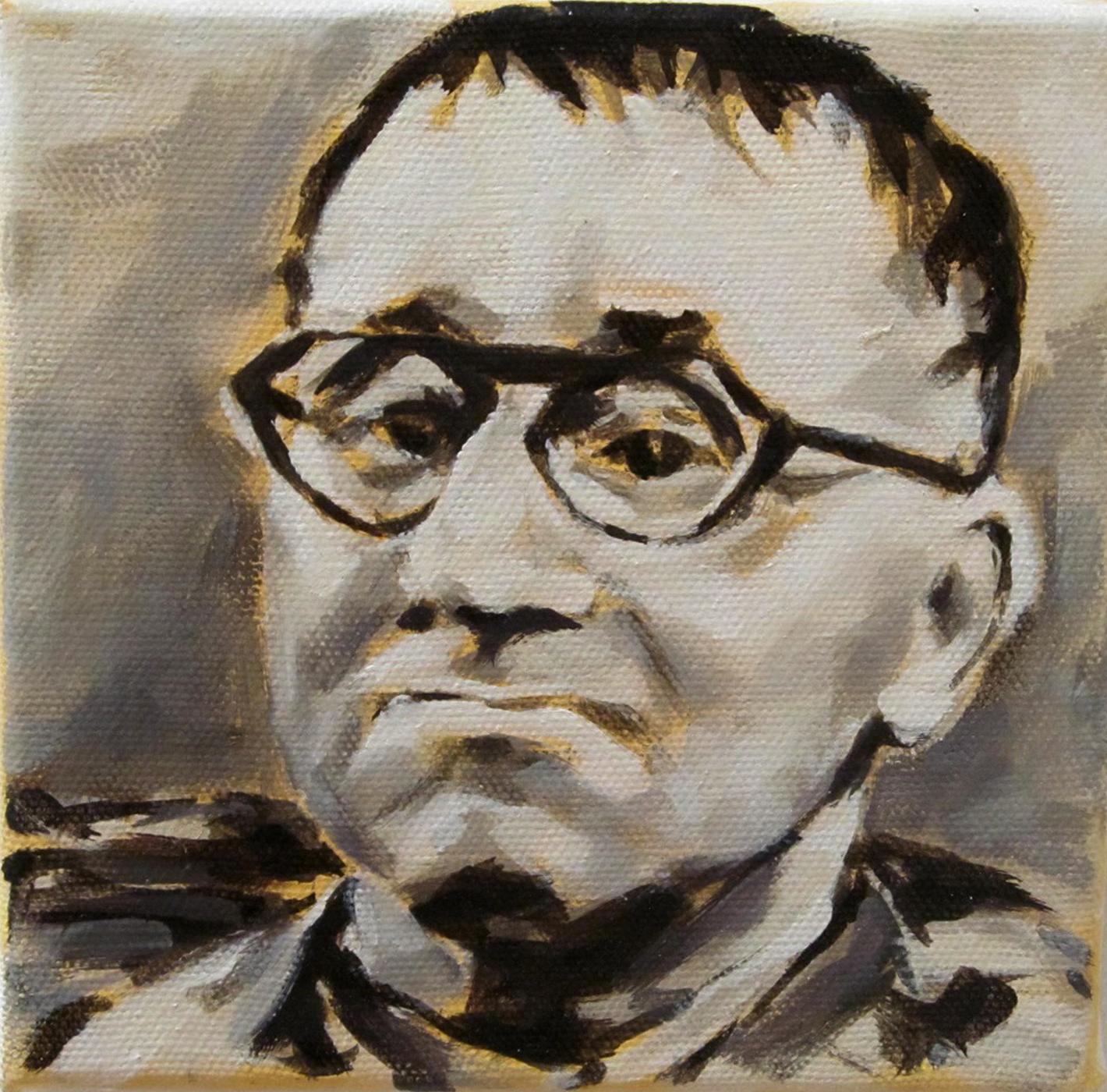 Berthold Brecht, Öl auf Leinwand, 20x20 cm, 2014
