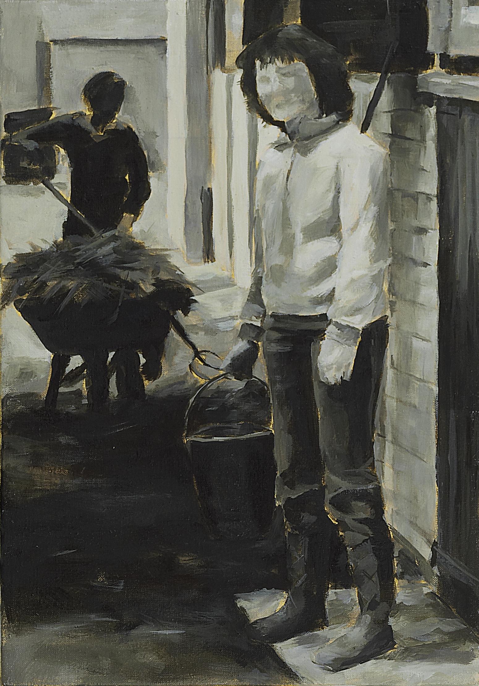 """""""Stalldienst, 1980"""", Öl auf Leinwand, 52 x 38 cm, 2006,"""