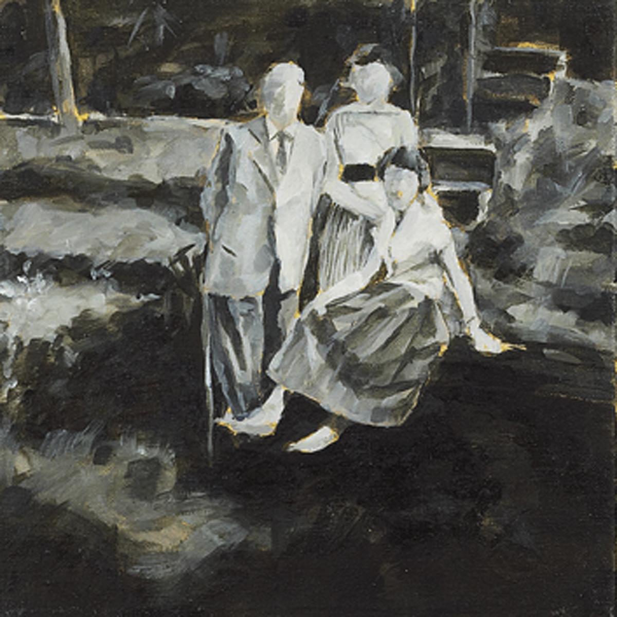 """""""Familientreffen in Trier, 1952"""", Öl auf Leinwand, 22x22cm, 2006"""