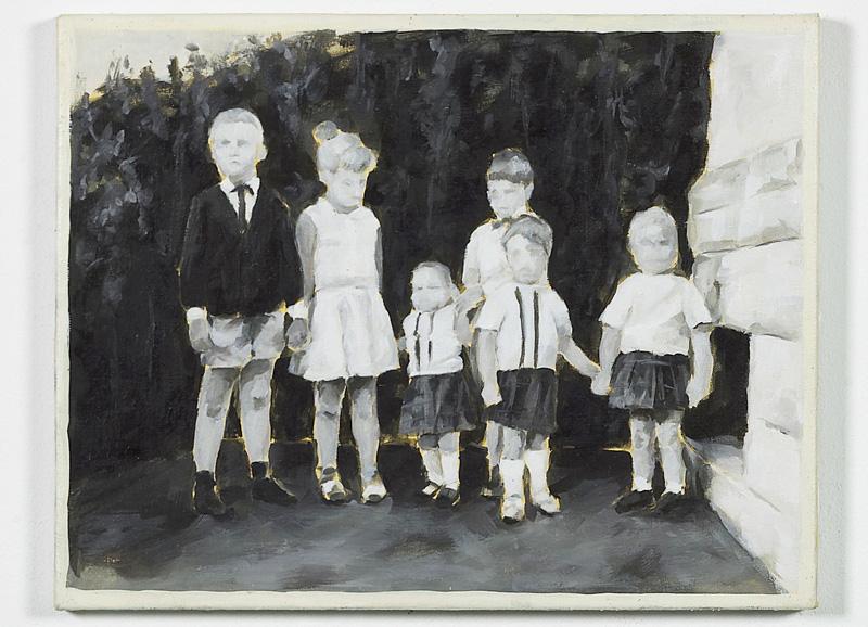 """""""Cousinen und Vettern"""" aus der Serie Kindheit, Öl auf Leinwand, 40 x 55 cm, 2002"""