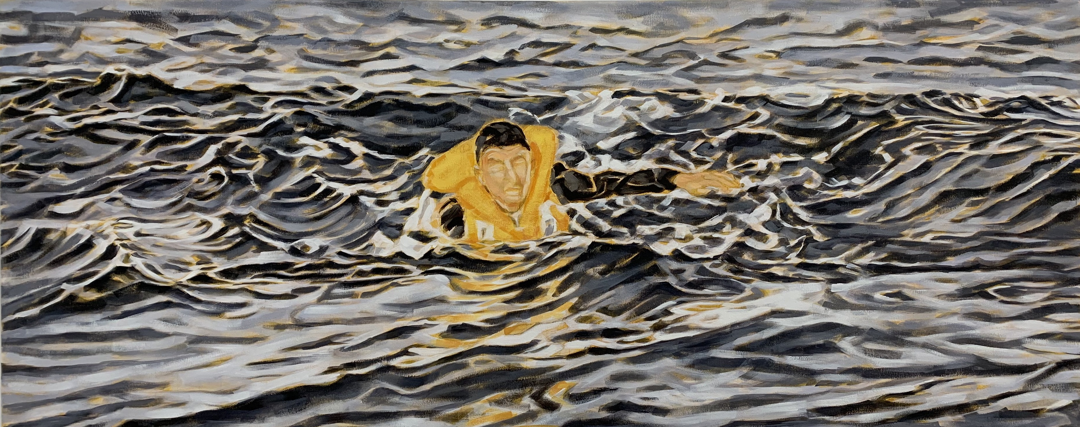 """""""Welle"""", Öl auf Leinwand, 60x150 cm, 2020"""