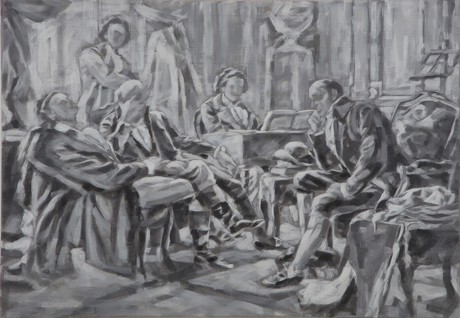"""Beethoven&Friends"", Adaption nach Anton Graeffle, Öl auf Leinwand, 70x100, 2019"