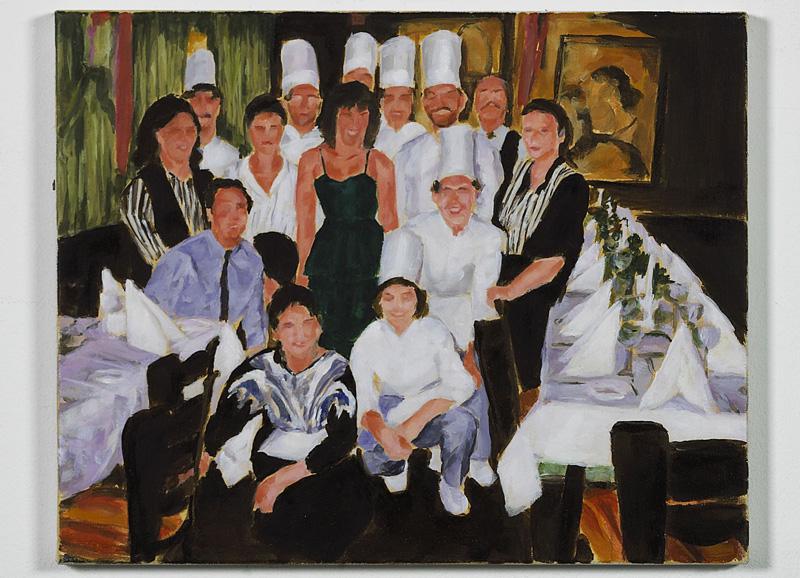 """Restaurant Birkenhof, 1986"", Öl auf Nessel, 40 x 50 cm, 2002"