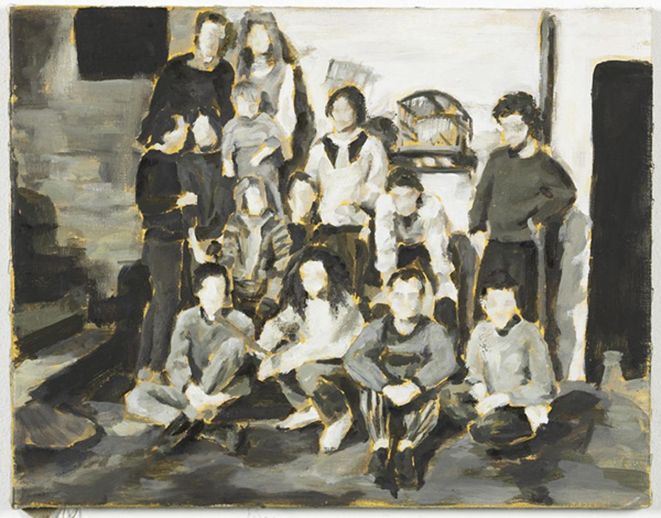 """""""Gruppe aus Köln, 1980"""", Öl auf Leinwand, 40 x 50 cm, 2005"""