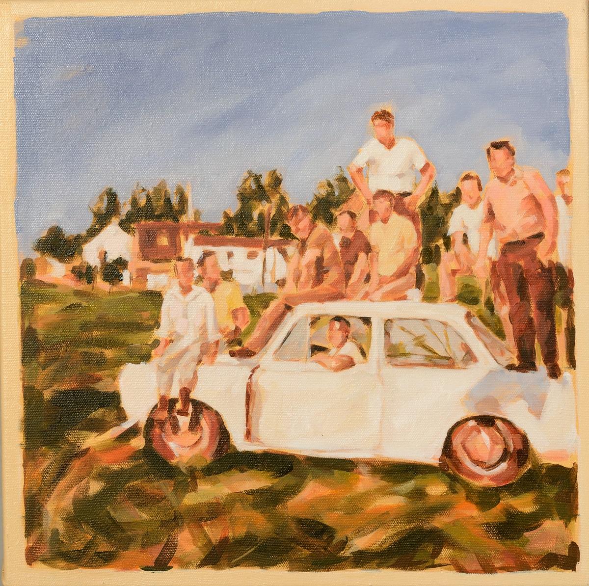 """""""Giller Freunde, 1975"""", Öl auf Leinwand, 40 x 40 cm, 2014"""