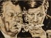 """""""Rauchende Genossen"""", Öl auf Leinwand, 55x105 cm, 2014"""