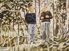 """""""Willy Brandt und Egon Bahr, Gespräche II"""", Öl auf Leinwand, 70x130 cm, 2019"""