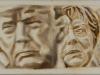 """""""Donald Trump und Angela Merkel"""", Öl auf Leinwand, 40x180cm, 2017"""